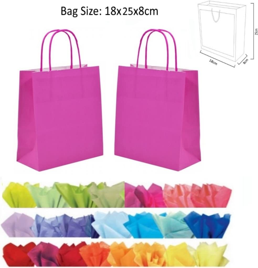 x 10 BRIGHT PINK GIFT BAGS WITH TISSUE PAPER CHRISTMAS BIRTHDAY PARTY BAG WHOLESALE & JOBLOT