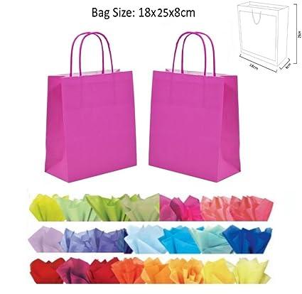 Bolsas de regalo de papel, 10 unidades, color rosa: Amazon ...