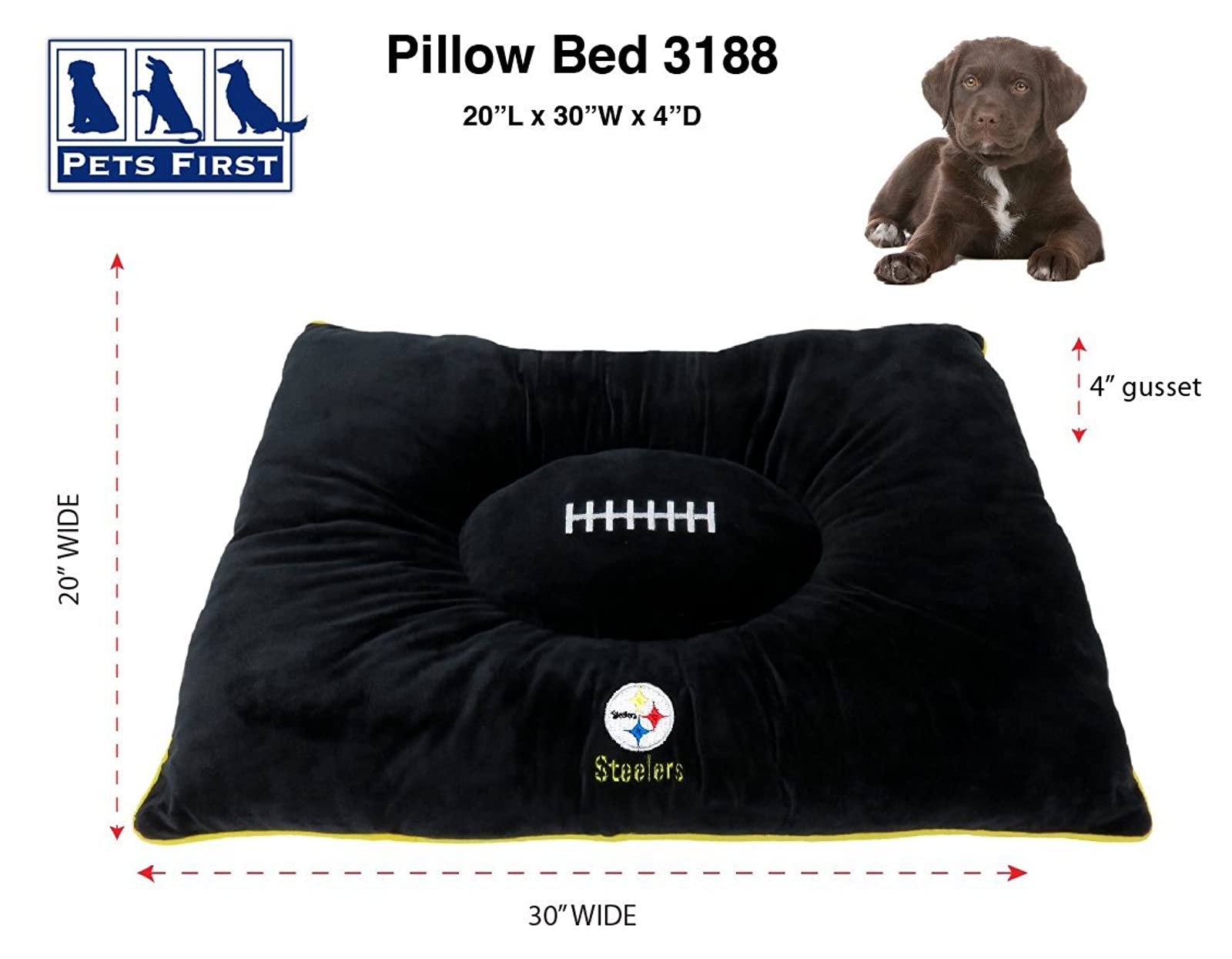 NFL PET Bed - Pittsburgh Steelers Soft & Cozy - 1