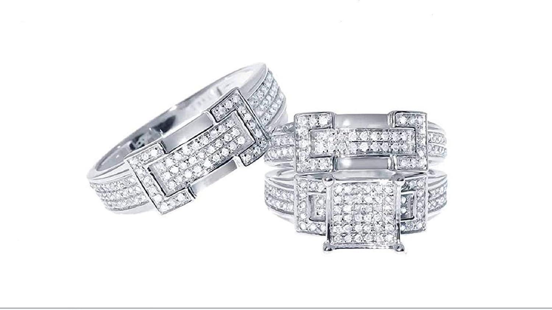 Silvergemking 4 Carat T.W Round D/VVS1 Diamond Men's & Women's Trio Bridal Ring Set 3 Piece 14k White Gold