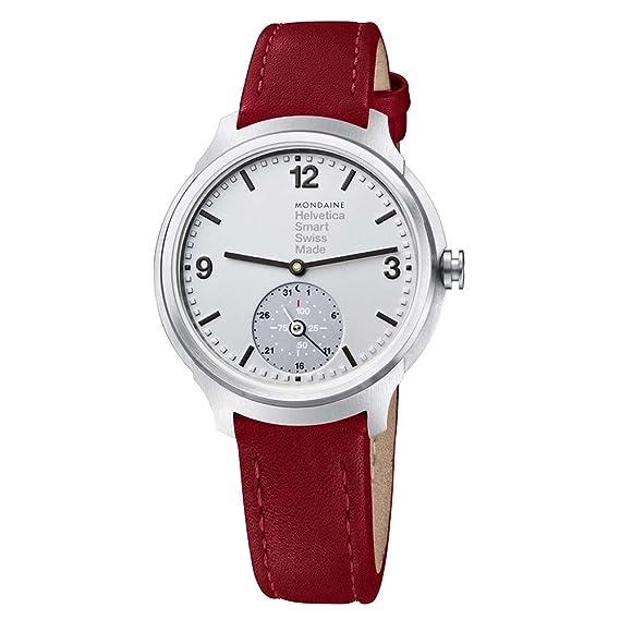 Mondaine Helvetica Smart 44mm MH1.B2S80.LC Reloj de pulsera Cuarzo Hombre correa de Cuero Rojo: Amazon.es: Relojes