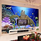 Mznm Custom Wall Mural 3D Underwater World Sea Turtle Non-Woven Soundproof Wallpaper Living Room Modern Wall Painting Decorative-200X140Cm