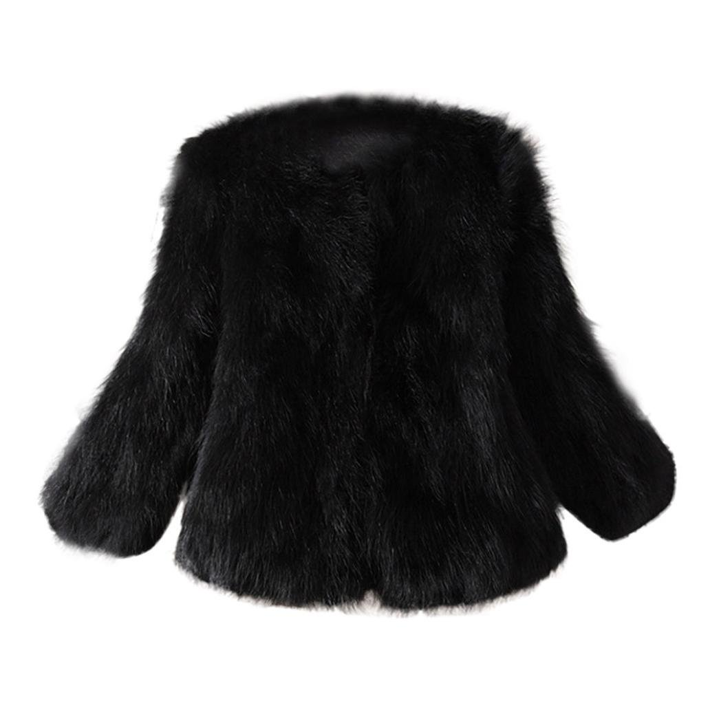 Tsmile Women Coat Fashion Autumn Winter Faux Fur Soft Fur Jacket Fluffy Winter Waistcoat Short Outerwear (Black, X-Large)
