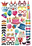 MotGlobal 52 Pieces Birthday Party Supplies Photo Booth Props DIY Kit Photography Decorations