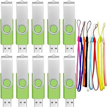 Lot of Ten 8GB Rotating USB 2.0 Flash Drive Memory Stick Swivel Pen Thumb Drive