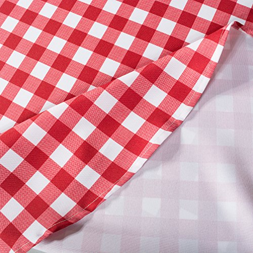 DII Spring & Summer Outdoor Tablecloth, Spill Proof and Waterproof with Zipper and Umbrella Hole, Host Backyard Parties, BBQs, & Family Gatherings - (60x120'' - Seats 10 to 12) Red Check by DII (Image #4)'