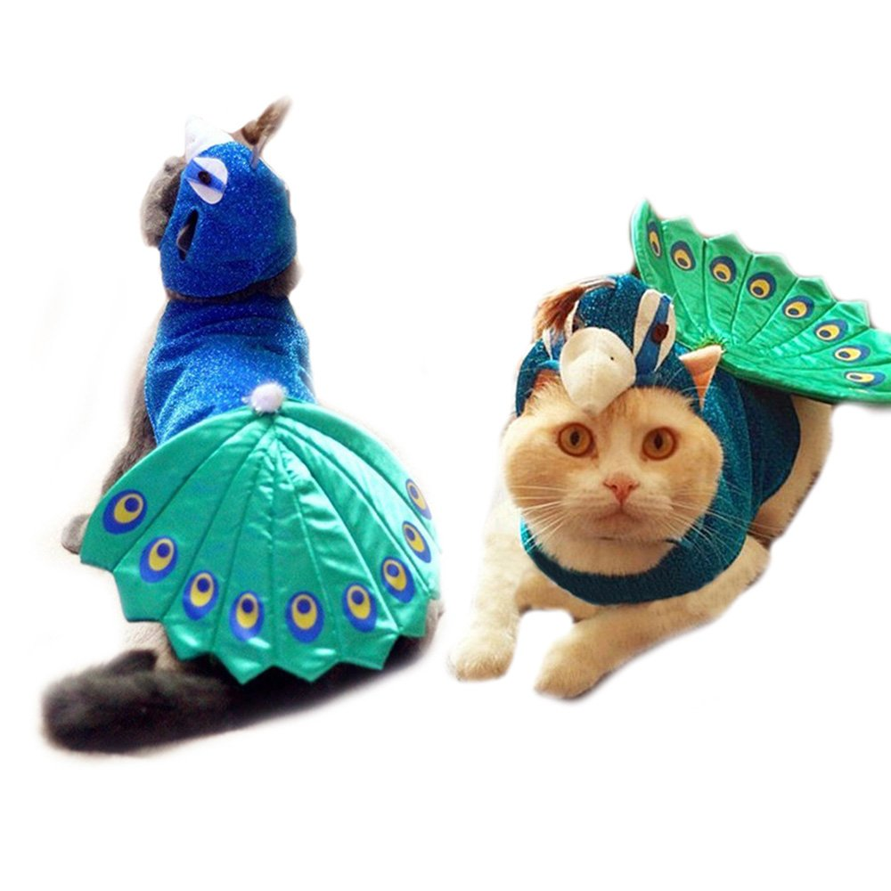 FLAdorepet Halloween Peacock Dog Cat Costume Outfits With Cat Hat Funny Small Pet Dog Cat Party Dress Clothes (Peacock Costume, Chest Girth 14-16 Inches)