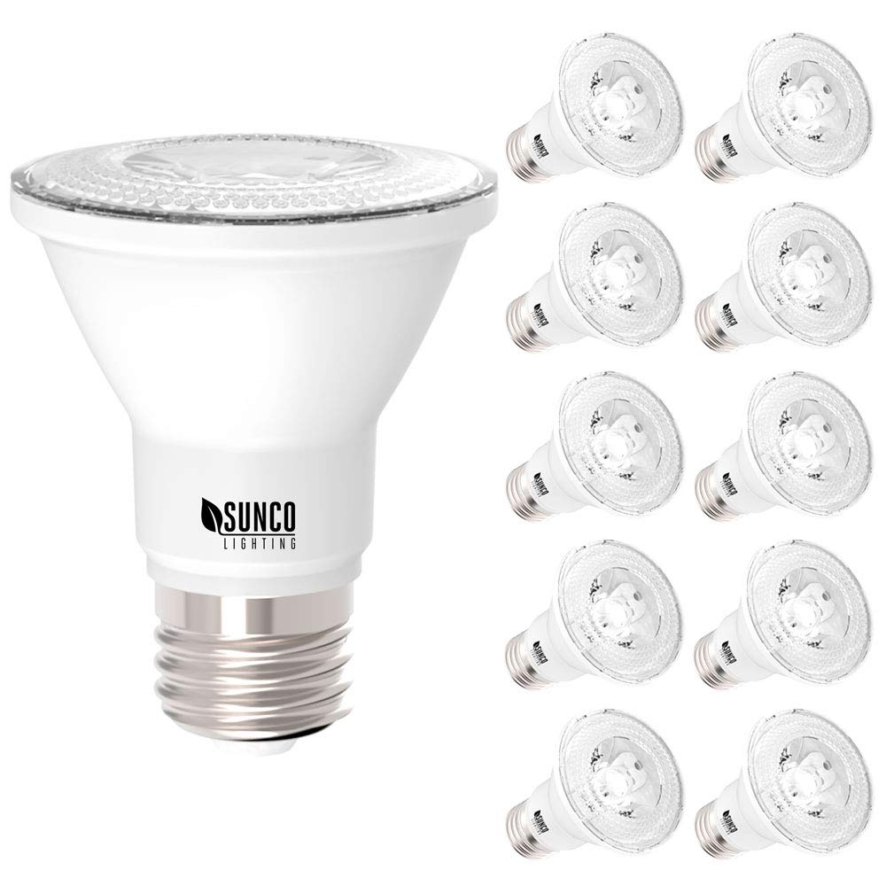 Sunco Lighting 10 Pack PAR20 LED Bulb, 7W=50W, Dimmable, 3000K Warm White, E26 Base, Flood Light for Home or Office Space - UL & Energy Star