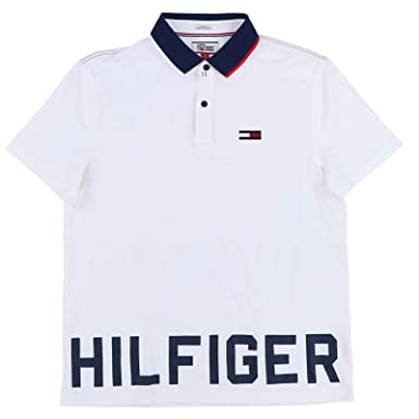 f80e2d87 Tommy Hilfiger Mens Custom Fit Graphic Polo Shirt (Medium, White ...