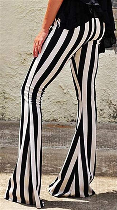 JWK Womens Classic Butt-Lift Breathable High Rise Striped Skinny Flared Pants