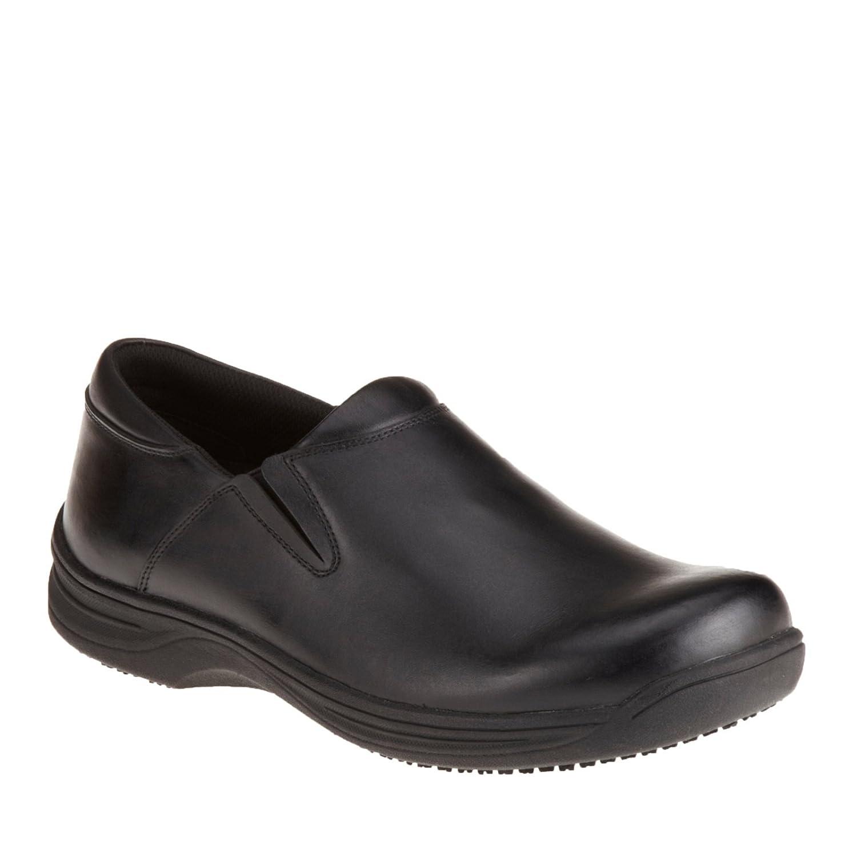 Genuine Grip Footwear Men's Slip-Resistant Slip-On Work Shoes,Black Leather,US 8