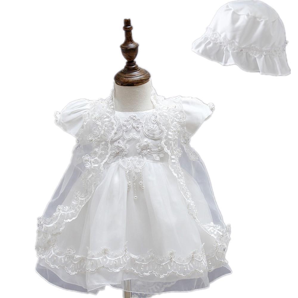 2Pcs satinado Puffed Falda Encaje Baby Girl Christening vestido de fiesta con Bonnet 0425 blanco roto blanco Talla:0-3 meses HELLO BABY
