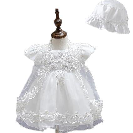 2 Pcs satinado Puffed Falda Encaje Baby Girl Christening vestido de fiesta con Bonnet 0425 blanco