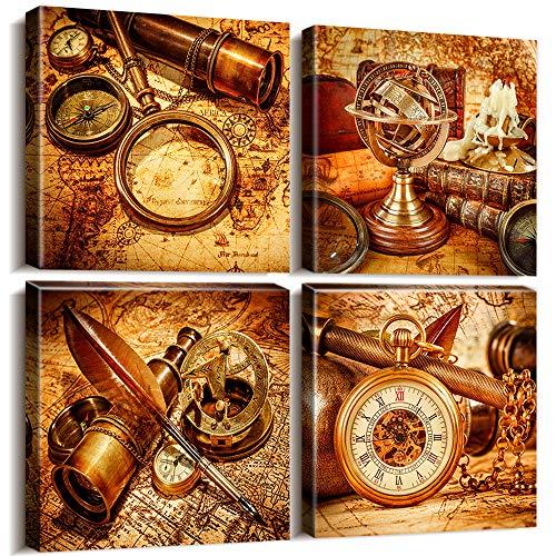 "Vintage Nautical Map Wall Decor Art Canvas Prints Painting Ready to Hang - 4 Piece Framed Retro Treasure Maps Compass Navigation Magnifier Telescope Pocket Watch Antique Photos -12 x 12"" x 4 Panels"