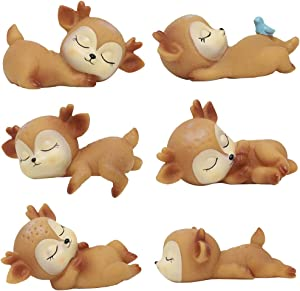 6pcs Deer Cake Topper Cute Resin Doe Fawn Figurines Animals Desk Decor Party Decorations for Baby Shower Birthday Wedding (Six Brown Fawns)