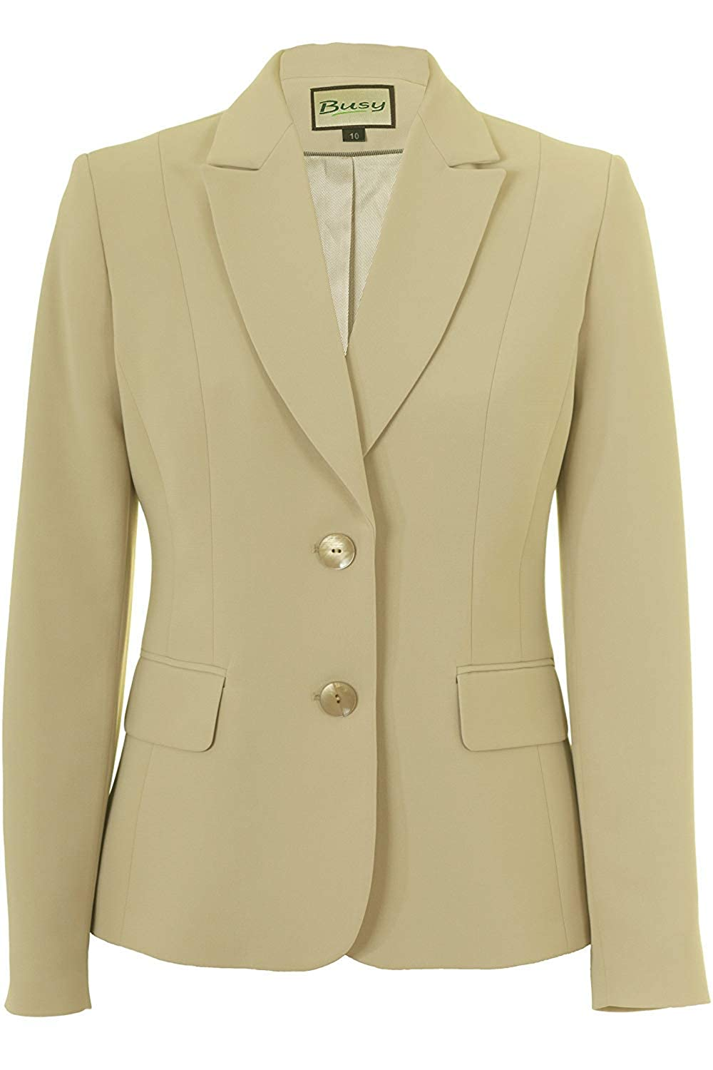 Busy Clothing Womens Beige Suit Jacket