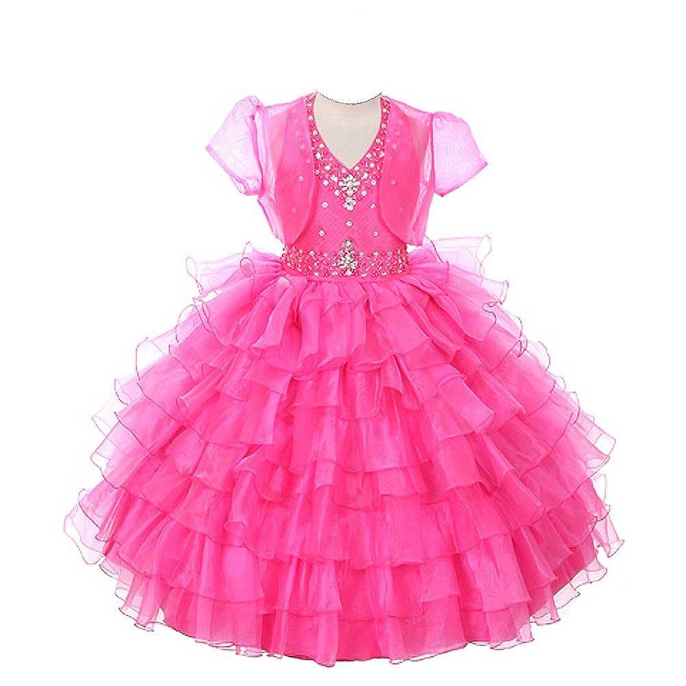 Rain Kids Girls 6 Fuchsia Jeweled Halter Pageant Dress Sheer Jacket by The Rain Kids
