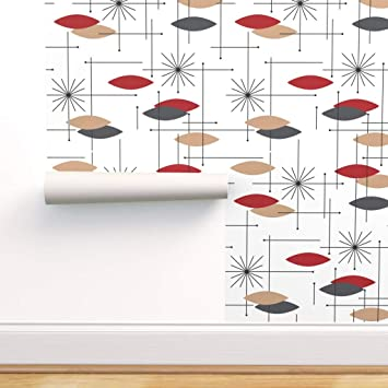 Peel-and-Stick Removable Wallpaper Mid Century Modern Retro Atomic 50S Mod 1950S