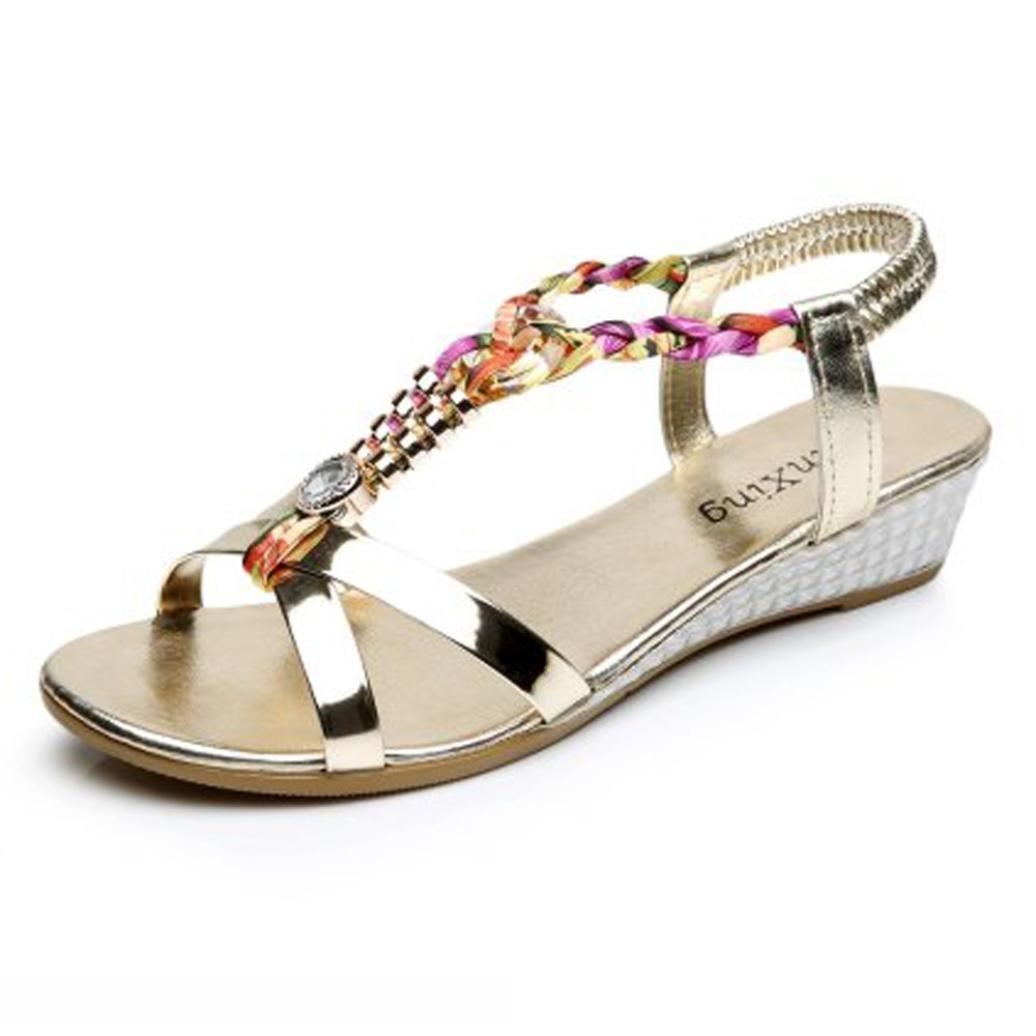 Elecenty Damen Sandalen Schuhe Schuh Sommerschuhe Bequeme Frauen Sandaletten Keilabsatz Offene Sandalen Offene Weich Flache Strass Outdoor  40|Gold