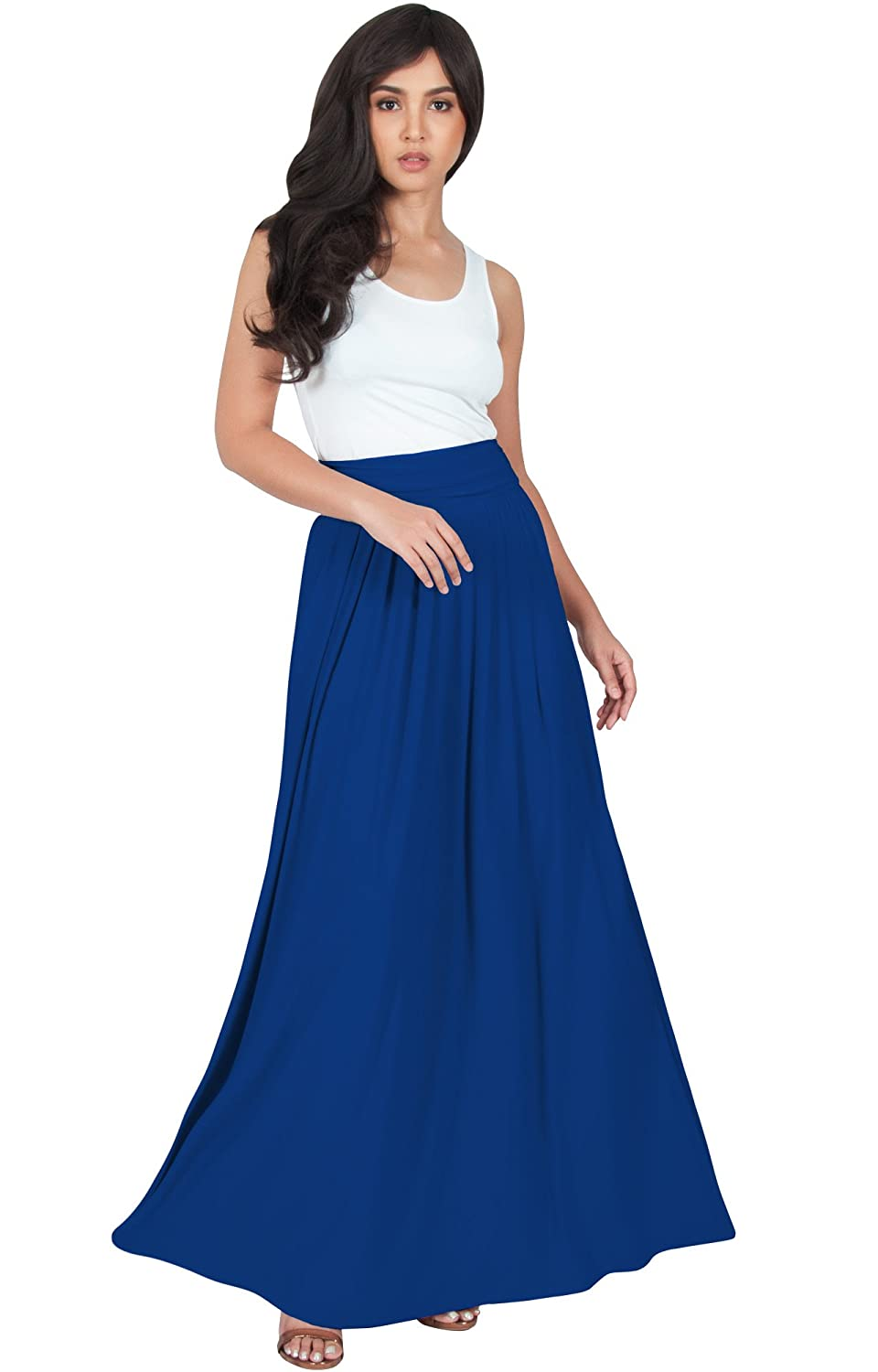 df5bcba4739f This beautiful and flattering maxi skirt features side pockets, a pleated  flowy cut and a high stretchy elastic waist. The design is made from high  quality ...