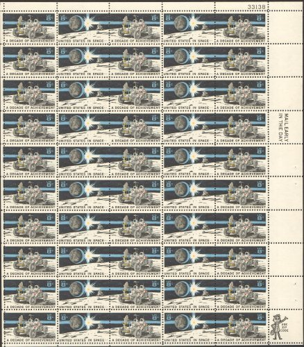 A DECADE OF ACHIEVEMENT IN SPACE Complete Sheet 50 x 8 cent Stamps Scott 1434-35