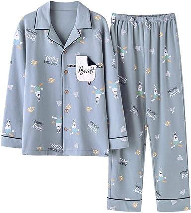 Waofe Nuevo Pijama Traje de Hombre de Punto de algodón Simple ...