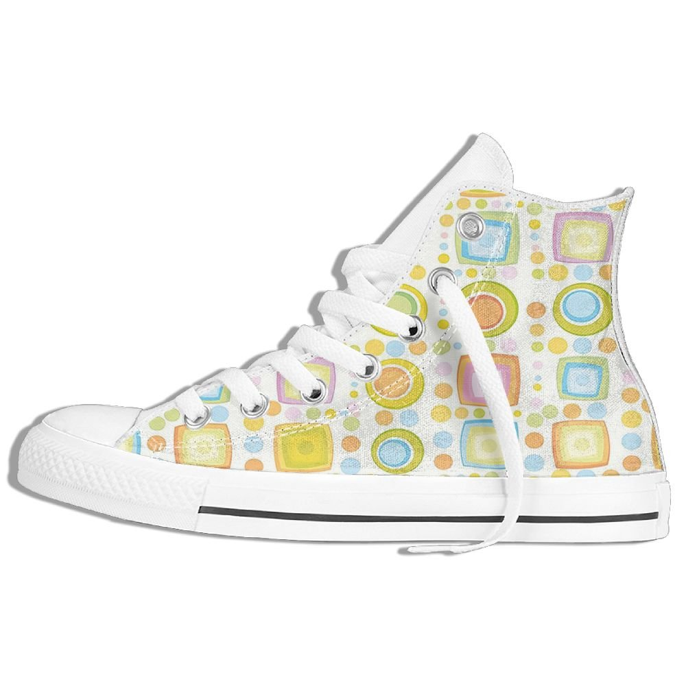 Mokjeiij Colorful Geometric Shapes Circles Square Forms Kids Nursery Playroom Art Print Resist Classic Canvas Shoes With Breathable Sneakers.