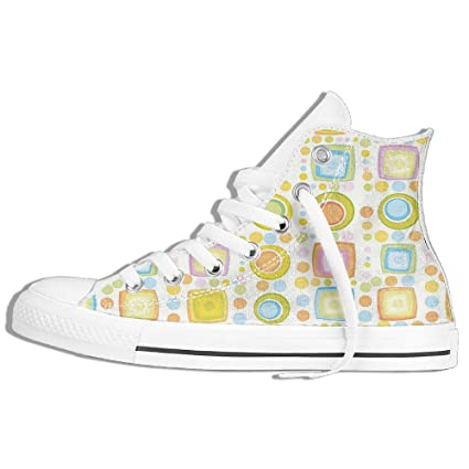 81e3352fcf4f Amazon.com: Mokjeiij Colorful Geometric Shapes Circles Square Forms Kids  Nursery Playroom Art Print Resist Classic Canvas Shoes With Breathable  Sneakers.