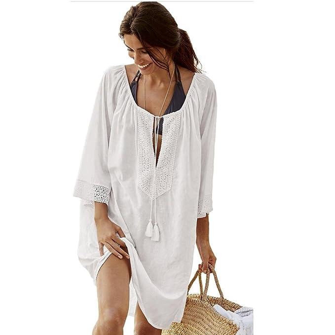 2baaabf92a34 beautyjourney Copricostume Mare Donna Vestiti Spiaggia Donna Vestito Lungo  Donna Copricostume Pizzo Donna Vestito Lungo Donna Estivo - Donna Pizzo  Bikini ...