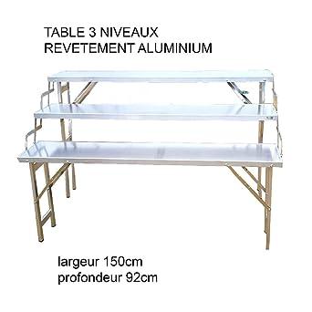 Lot De 2 Table 100 Aluminium 3 Plateaux Pliable Marchés