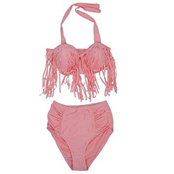 22a2af1d296d9 SODIAL(R) PLUS SIZE Big and Beautiful Womens Retro Fringe Tassel High  Waisted Bikini Push Up Bandeau Rockabilly Swimwear Swimsuit Pink 3XL.