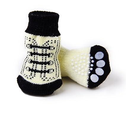 Nicedeal 4Pcs S Calcetines Perro Mascota Protectores Patas Zapatos Transpirables Suministro de Mascotas para Perros