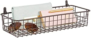 mDesign Portable Metal Farmhouse Wall Decor Storage Organizer Basket Shelf with Handles for Hanging in Entryway, Mudroom, Bedroom, Bathroom, Laundry Room - Wall Mount Hooks Included, Small - Bronze