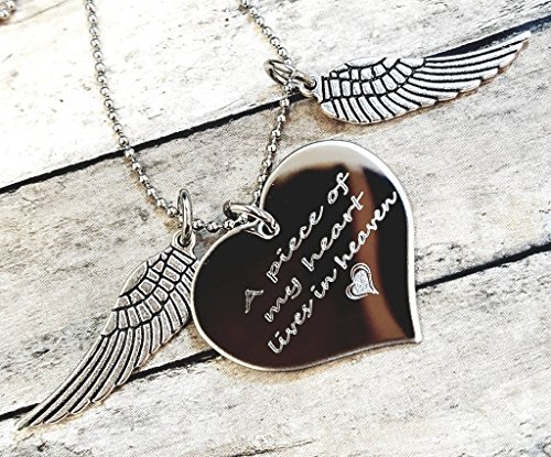 A Piece Of My Heart Lives In Heaven Heart Necklace Memorial Gift Loss of Loved One, Wings with Heart