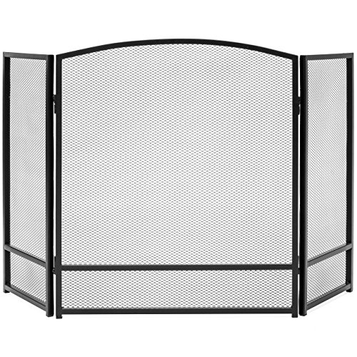- Best Choice Products 3-Panel Living Room Steel Mesh Simple Design Fireplace Screen Home Decor w/Rustic Worn Finish - Black
