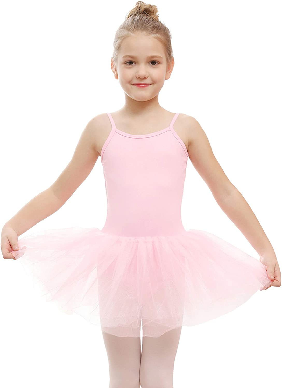Girls Ballet Dress Gymnastics Dance Costume Kids Leotard Tutu Skirt Pure Color