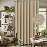 """curtains for sliding glass doors Energy Saving Linen Curtains for Sliding Glass Door (W100"""" x L84"""")- Room Darkening Primitive Linen Large Curtains for Living Room Privacy Blinds for Patio Blackout Extra Wide Linen Curtain - Beige"""