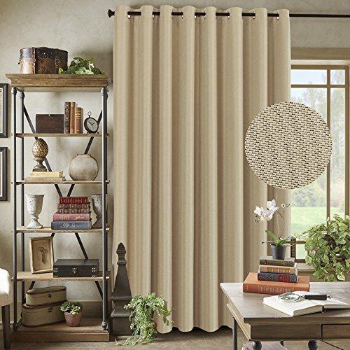 "Energy Saving Linen Curtains for Sliding Glass Door (W100"" x L84"")- Room Darkening Primitive Linen Large Curtains for Living Room Privacy Blinds for Patio Blackout Extra Wide Linen Curtain - Beige"