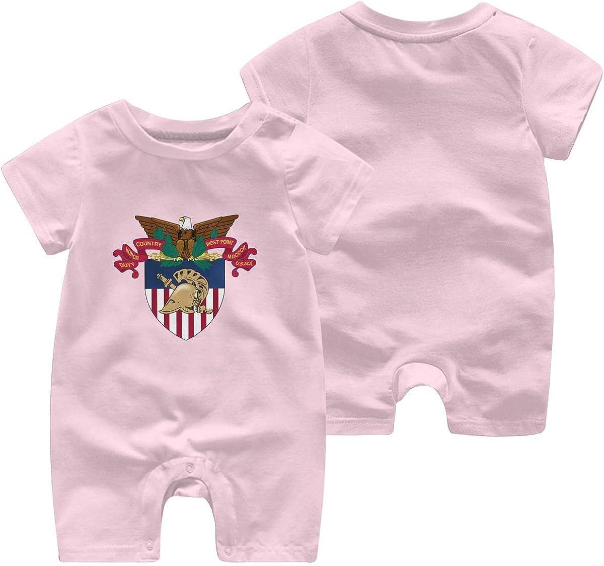 Xiaolizi Romper West Point Military Academy Jumpsuit Short Sleeve Bodysuits Infant Funny Onesie Black