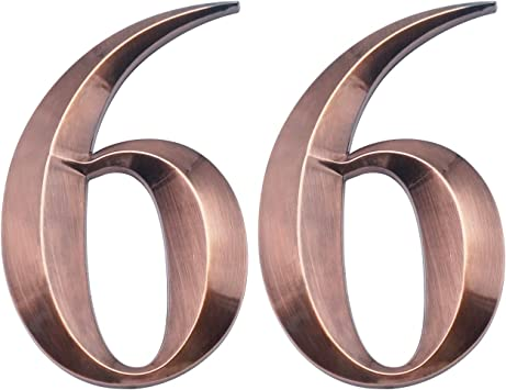 Shiny Antique Brass Numbers 9 Two Pieces House Numbers 3D Self-Adhesive Mailbox Numbers Address Numbers for Apartment Door Room Waterproof Hotel