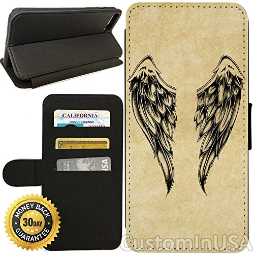 Flip Wallet Case for iPhone 8 Plus (Cool Vintage Angel Wings) with Adjustable Stand and 3 Card Holders | Shock Protection | Lightweight | Includes Free Stylus Pen by - Angel Cover