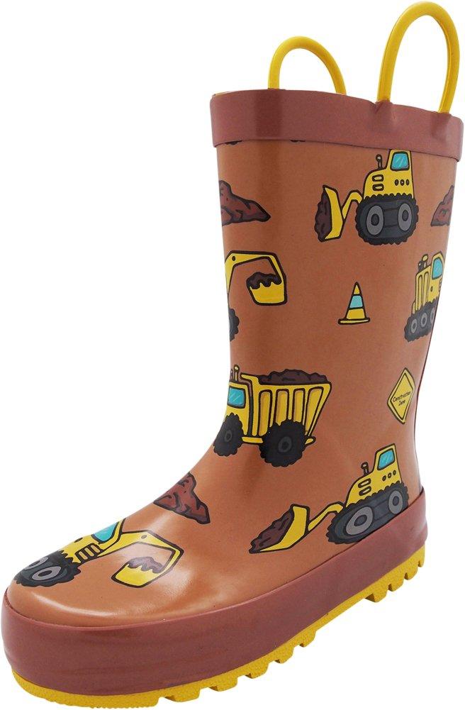 NORTY Toddler Boys Construction Dump Trucks Waterproof Rainboot, Brown 40554-9MUSToddler