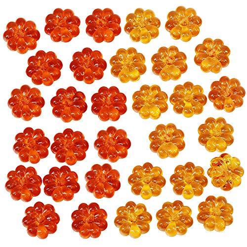 - Supla 60 Pcs Orange Acrylic Pumpkins Mini Pumpkins Fall Harvest Table Scatters Vase Bowl Filler Thanksgiving Tabletop Pumpkin Embellishments Ornaments 0.9