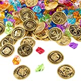Pirate Gold Coins Buried Treasure and Pirate Gems Jewelry Playset Activity Game Piece Pack Party Favor Decorations (120 Coins + 120 Gems) by Super Z Outlet