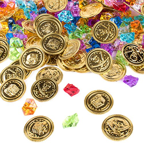 Super Z Outlet Pirate Gold Coins Buried Treasure and Pirate Gems Jewelry Playset Activity Game Piece Pack Party Favor Decorations (120 Coins + 120 - Colored Gold Multi Gems