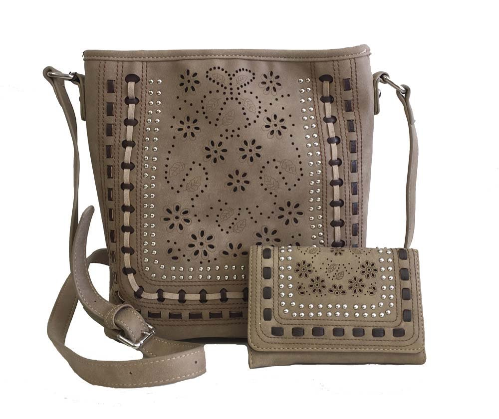 American Bling Concealed Gun Messenger Cross Body Purse and Wallet Set Daisy Cutouts Tan