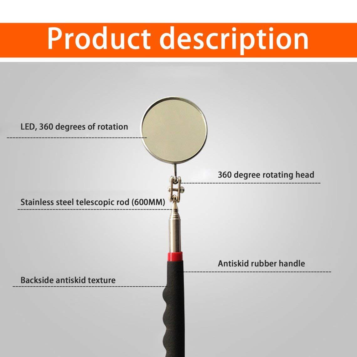 Zinniaya Miroir dinspection t/élescopique avec /émetteur /à LED 360 Accessoires utiles pour v/éhicules t/élescopiques