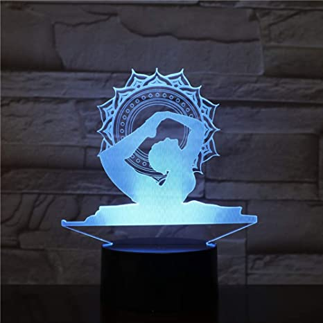 Nocturna Lámpara Yoga Queen 3D Luces De Noche Led 7 Colores ...
