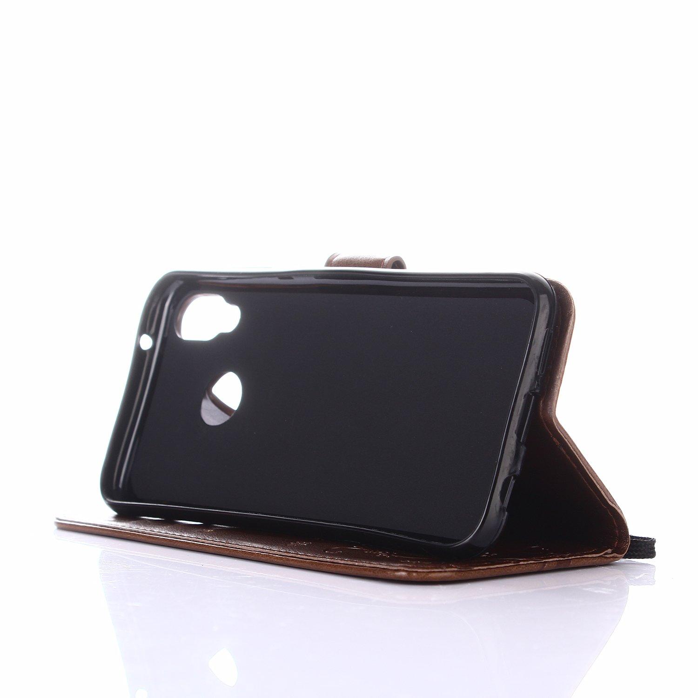 Huphant Huawei P20 Lite H/ülle Braun Huawei P20 Lite Leder Tasche Braun Schmetterling Flip Schutzh/ülle Wallet Case Tasche H/ülle f/ür Huawei P20 Lite Stand Kartenf/ächer Magnet