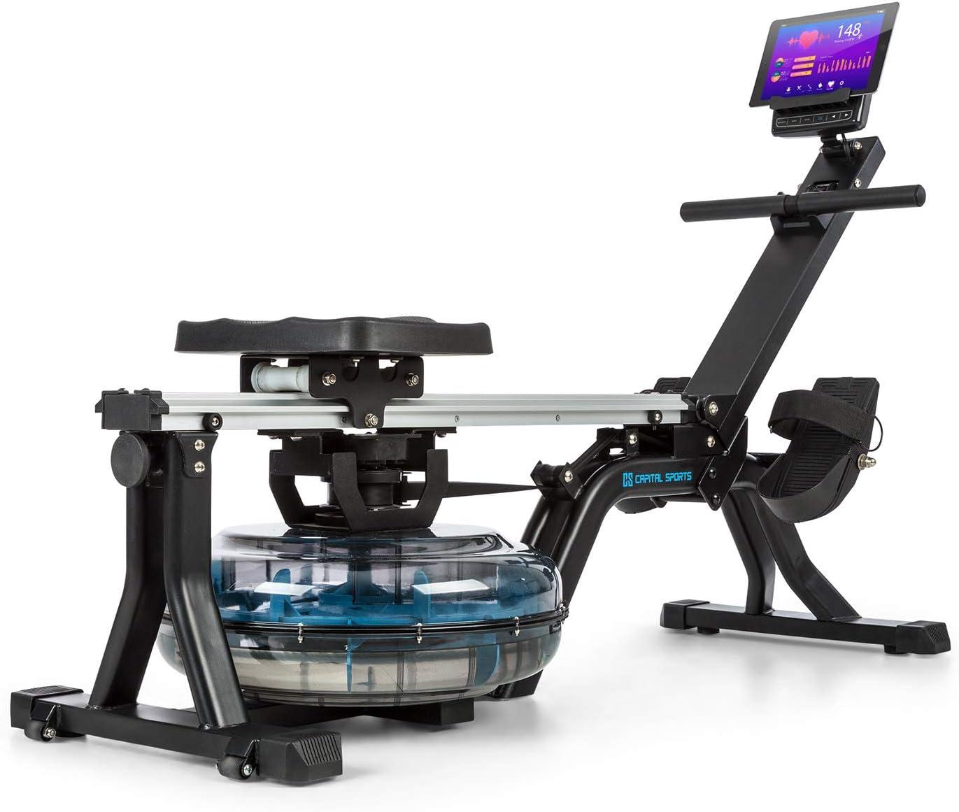 CapitalSports Flow M1 M2 Máquina de Remode Agua- Banco de Remo, 80 cm de Largo, 8Niveles/máx. 13/14 litros, Ordenador con Pantalla LCD, Soporte para tabletas, Aluminio